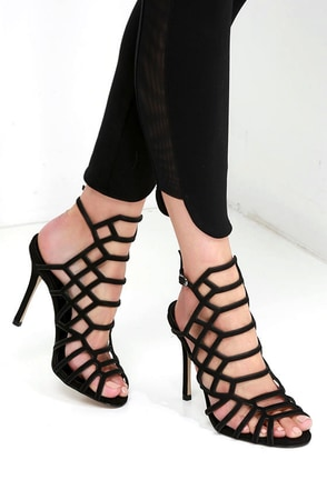 Steve Madden Slithur Black Nubuck Leather Caged Heels at Lulus.com!