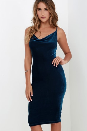 Jazzy Belle Blue Velvet Dress at Lulus.com!