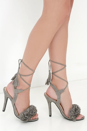 Flirty with the Fringe on Top Grey Tassel and Fringe Heels at Lulus.com!