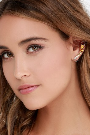 Tone Up the Music Amber Rhinestone Cuff Earrings at Lulus.com!