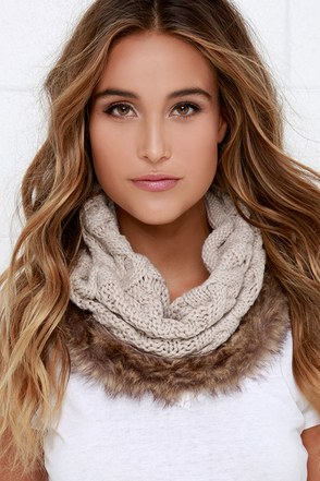 Free-Fur-All Beige Faux Fur Infinity Scarf at Lulus.com!