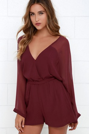 Sheer Your Secrets Wine Red Romper at Lulus.com!