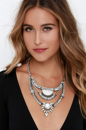 Sunlit Veranda White Rhinestone Statement Necklace at Lulus.com!
