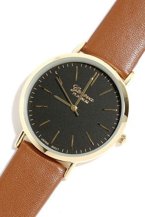 Point in Time Gold and Brown Watch at Lulus.com!
