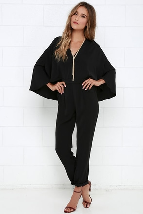 Project Stunning Black Cape Jumpsuit at Lulus.com!