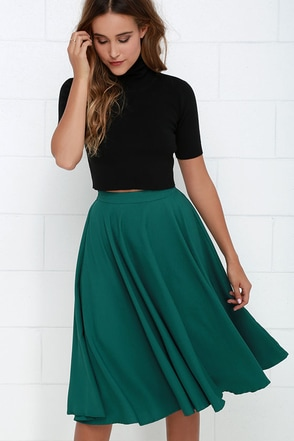 Fine Swoon Dark Teal Midi Skirt at Lulus.com!