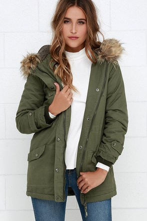 Luck of the Draw Faux Fur Olive Green Parka Jacket at Lulus.com!