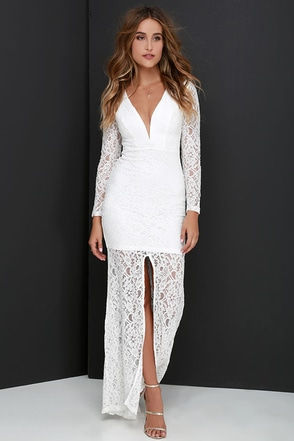 Heaven On Earth Ivory Lace Maxi Dress at Lulus.com!