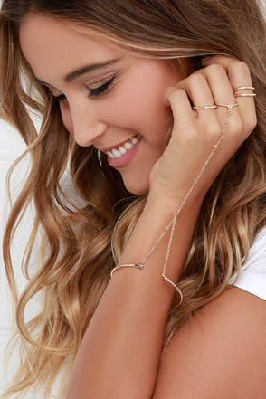 Free to Be Gold Harness Bracelet and Ring Set at Lulus.com!