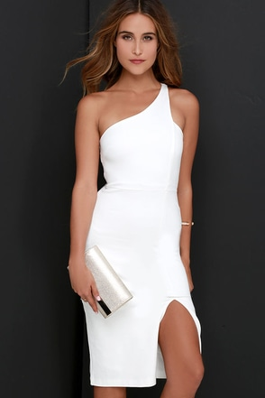 One-Way Ticket Ivory One Shoulder Midi Dress at Lulus.com!