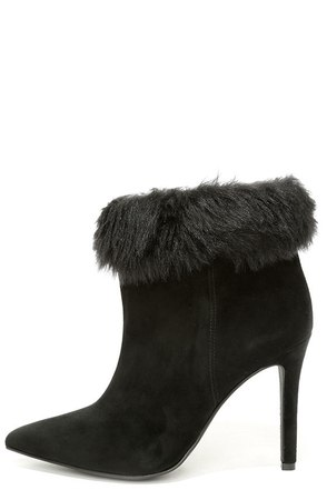 Jessica Simpson Carine2 Black Faux Fur High Heel Booties at Lulus.com!