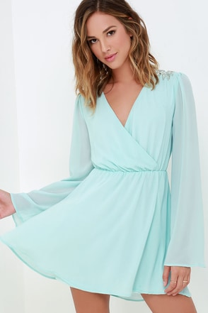 It's a Celebration Mint Blue Beaded Wrap Dress at Lulus.com!