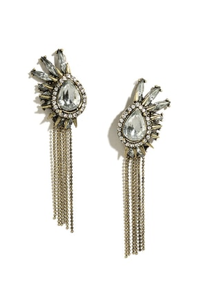 Spike It or Not Clear Rhinestone Earrings at Lulus.com!