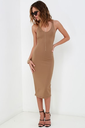 Strike Your Fancy Brown Bodycon Midi Dress at Lulus.com!