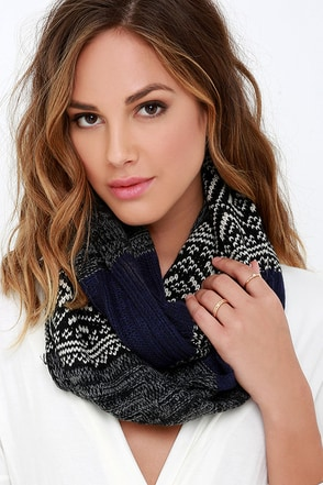 Modern Traditions Navy Blue Print Infinity Scarf at Lulus.com!