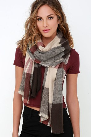 Wildwood Cabin Brown and Beige Plaid Scarf at Lulus.com!
