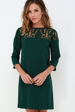 BB Dakota Keagan Dark Green Lace Dress at Lulus.com!