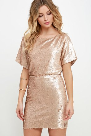 Glory Never Fades Rose Gold Sequin Dress at Lulus.com!