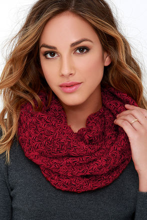 Come Full Circle Black and Red Infinity Scarf at Lulus.com!