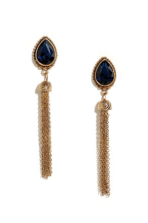Tear and There Gold and Blue Rhinestone Tassel Earrings at Lulus.com!