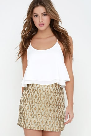 Glamorous Hieroglyphics Gold Sequin Mini Skirt at Lulus.com!