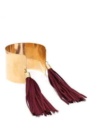 Mythical Hero Gold and Black Tassel Cuff Bracelet at Lulus.com!