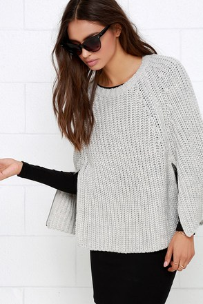 Olive & Oak Cloak and Swagger Light Grey Sweater Cape at Lulus.com!
