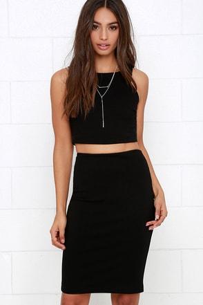 Double Entendre Black Two-Piece Dress at Lulus.com!
