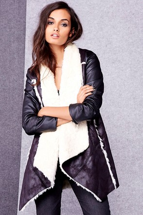 Thunder Road Black Sherpa Coat at Lulus.com!