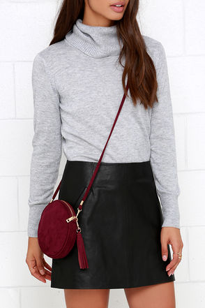 Making the Rounds Burgundy Suede Clutch at Lulus.com!