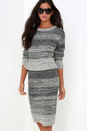 Nook and Corner Grey Marl Two-Piece Sweater Dress at Lulus.com!