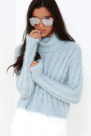 Mineral Springs Blue Cable Knit Crop Sweater at Lulus.com!