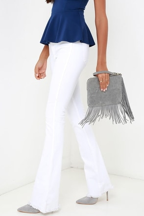 Fringe to be Reckoned With Grey Suede Clutch at Lulus.com!