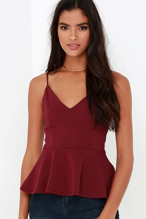 Fundamentals of Style Wine Red Peplum Top at Lulus.com!