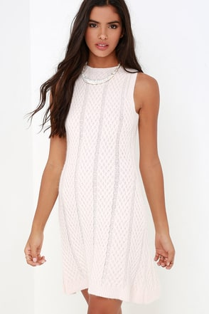 JOA Foothills Blush Cable Knit Sweater Dress at Lulus.com!