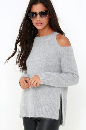 JOA Breathe Easy Grey Sweater at Lulus.com!