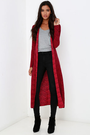 Billabong Diamond Duster Red Print Cardigan Sweater at Lulus.com!