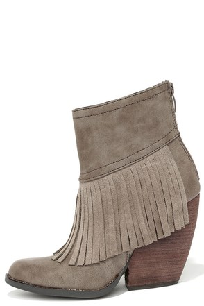 Very Volatile Khloe Taupe Fringe Booties at Lulus.com!