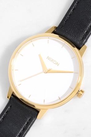 Nixon Kensington Leather Gold, White and Black Watch 1