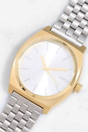 Nixon Time Teller Light Gold and Cobalt Watch at Lulus.com!