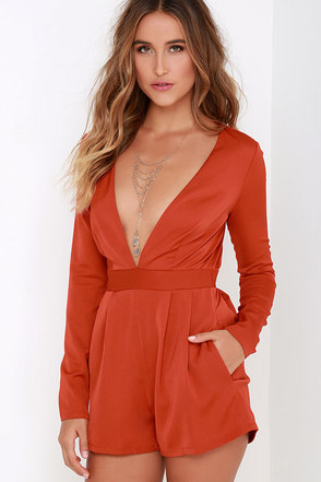 Steep Slope Rust Red Long Sleeve Romper at Lulus.com!