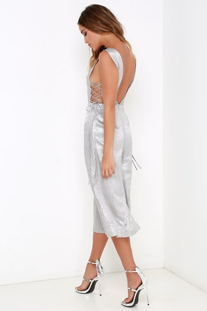 JOA Electric Babe Silver Midi Jumpsuit at Lulus.com!