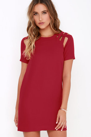 Shoulder Shrug Wine Red Shift Dress at Lulus.com!