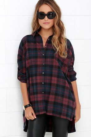 Across the Corral Burgundy Plaid Button-Up Top at Lulus.com!