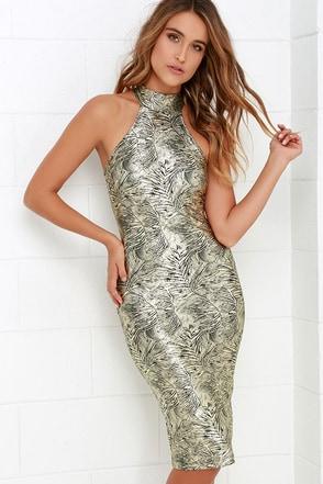 Palmetto Gold Print Bodycon Midi Dress at Lulus.com!