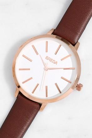 Breda Joule Maroon Leather Watch 1
