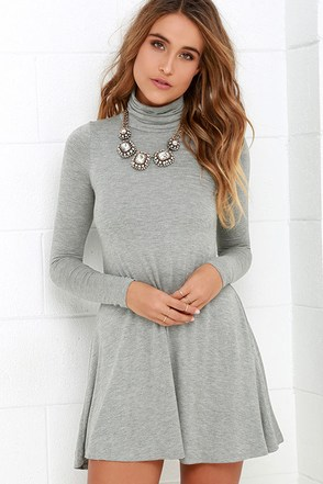 Sway, Girl, Sway! Heather Grey Swing Dress at Lulus.com!