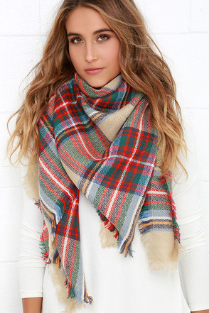 Ticket to Timbuktu Beige Plaid Scarf 1