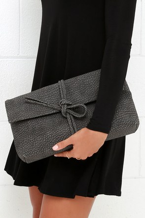 Tying to See Ya Grey Clutch at Lulus.com!