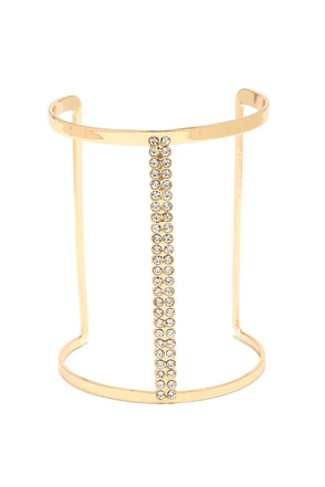 Hotline Bling Gold Rhinestone Cuff Bracelet at Lulus.com!